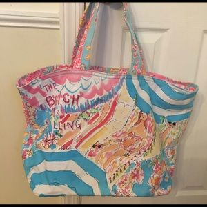 BNWT Lilly Pulitzer Tote Bag The Beach is Calling